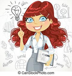 mignon, tablette, bouclé, brun, griffonnage, idée, cheveux, fond, girl, électronique, inspiration