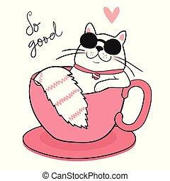 mignon, tasse à café, soleil, dessiner, gros chat, blanc, dormir, lunettes
