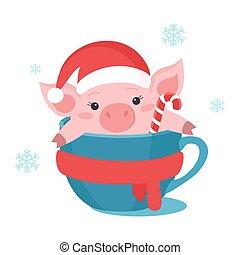 mignon, tasse, cochon, arrière-plan., vecteur, noël blanc