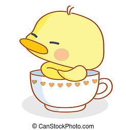 mignon, tasse, poussins, dessin animé, pose