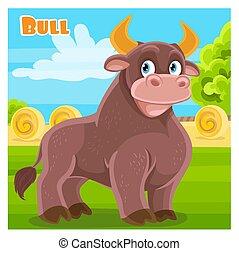 mignon, taureau, ferme, dessin animé, fond