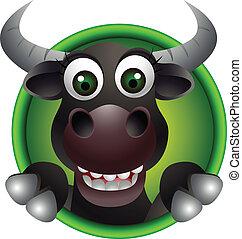 mignon, taureau, tête, dessin animé