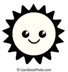 mignon, temps, heureux, icône, soleil