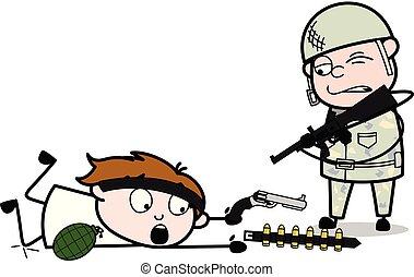 mignon, terroriste, armée, -, illustration, rencontré, soldat, vecteur, dessin animé, homme