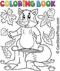 mignon, thème, coloration, renard, 1, livre