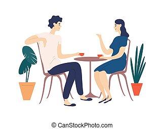 mignon, thé, café, partners., rigolote, jeune, entre, date., plat, café, séance femme, couple, romantique, boire, dessin animé, homme, parler., illustration., conversation, vecteur, dialogue, ou, table