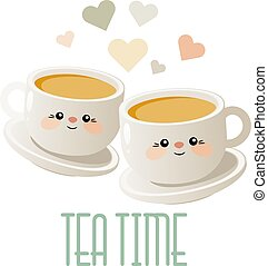 mignon, thé, deux, illustration, time., tea., vector., tasses