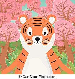 mignon, tigre, dessin animé, animal, forêt