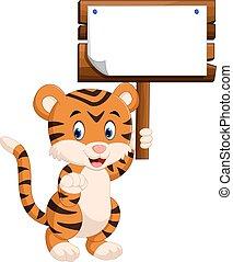 mignon, tigre, dessin animé