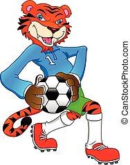 mignon, tigre, football jouant