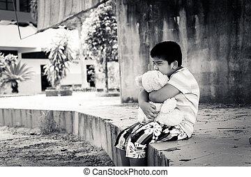 mignon, tonalité, garçon, parc, triste, asiatique, seul, blanc