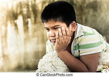 mignon, tonalité, garçon, parc, triste, asiatique, seul