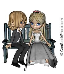mignon, toon, couple, -, 2, mariage