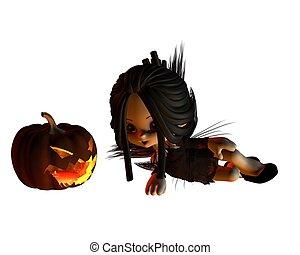 mignon, toon, halloween, -, 3, fée