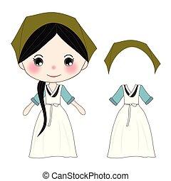 mignon, traditionnel, vert, hanbok, girl, coréen, déguisement