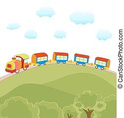 mignon, train, vecteur, dessin animé, illustration
