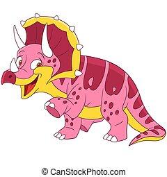 mignon, triceratops, dessin animé