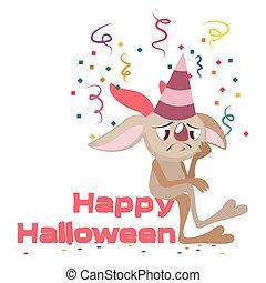 mignon, triste, halloween, monstre, salutation