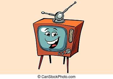 mignon, tv, smiley, caractère, figure, retro