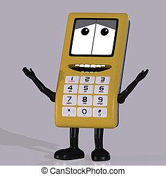 mignon, type caractère drôle, téléphone portable, émotif,...