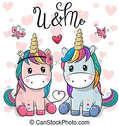 mignon, unicorns, deux, fond, cœurs