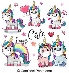 mignon, unicorns, ensemble, dessin animé