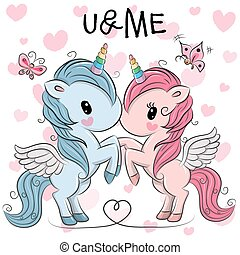 mignon, unicorns, fond, cœurs