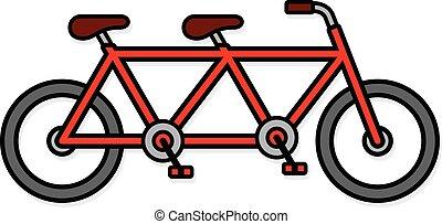 mignon, vélo, deux font asseoir, tandem, icône