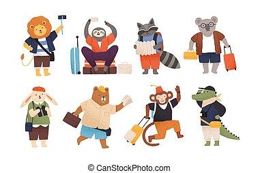 mignon, vacation., voyage, rigolote, puéril, travellers., aller, amuser, touristes, heureux, plat, paquet, collection, caractères, dessin animé, animaux, illustration., bagage, bagages, vecteur, sauvage, ou