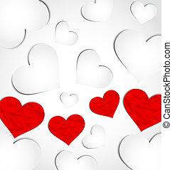 mignon, valentine, papier, fond, cœurs, jour