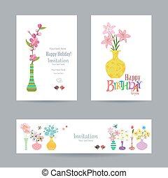 mignon, vases, collection, invitation, cartes, fleurs, ton