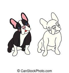mignon, vecteur, bulldog., illustration., francais