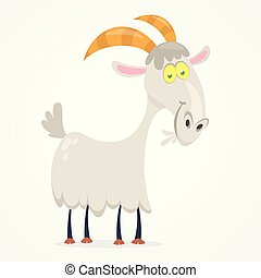 mignon, vecteur, chèvre, illustration, dessin animé
