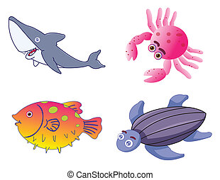 mignon, vecteur, créatures, mer, assorti