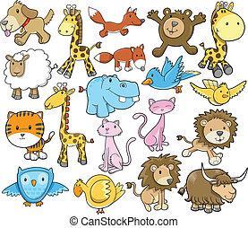 mignon, vecteur, ensemble, animal, safari