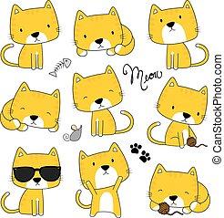 mignon, vecteur, ensemble, chatons