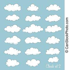 mignon, vecteur, ensemble, clouds.