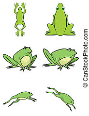 mignon, vecteur, grenouille, illustration, assorti