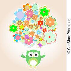 mignon, vecteur, hibou, à, beaucoup, fleurs