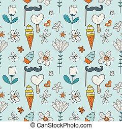mignon, vecteur, illustration., pattern., salutation, seamless, anniversaire