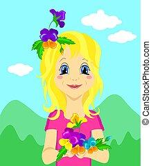 mignon, vecteur, illustrations, enfants', s, autre, girl, fleurs, ou, jour