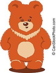 mignon, vecteur, isolé, ours, brun