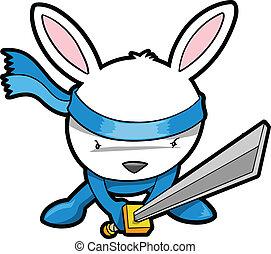 mignon, vecteur, lapin lapin, ninja