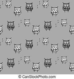 mignon, vecteur, owls., seamless, modèle