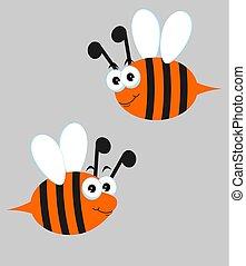 mignon, vecteur, set., abeilles, gris, illustration, arrière-plan., abeilles, dessin animé