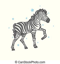 mignon, vecteur, zebra, illustration