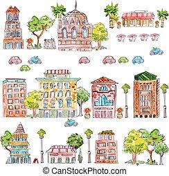 mignon, vendange, maison, collection, aquarelle, arbres.,...