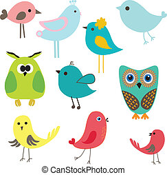 mignon, vendange, set., illustration, vecteur, oiseaux