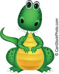 mignon, vert, dinosaure, dessin animé