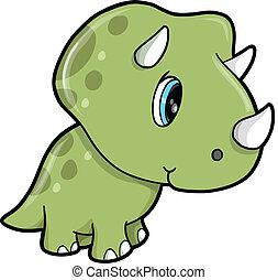 mignon, vert, triceratops, dinosaure